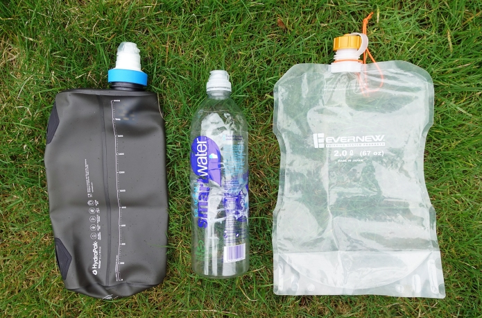 A simple hydration kit- two litre 'dirty water' bag with attached filter. Water bottle with flip cap for on the go and a two litre bladder for use in camp or to camel up on drier stretches