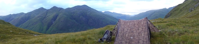 A high camp on the Cape Wrath Trail. Tent wash and tick check is the order of the day