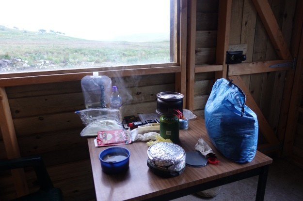 On a foul day Three Points of the Compass was pleased to sereditously find an unlocked salmon fishermans hut to shelter in for the night. Two litre Platypus water bladder provides enough water for evening and morning meals and drinks