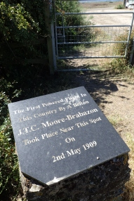 Small plaque celebrating the first powered aerial flight made nearby, by a Briton- J.T.C.Moore-Brabazon, on 2nd May 1909