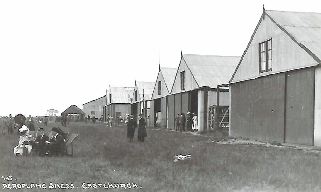 The aircraft sheds at Eastchurch photographed over a centruy ago. This is where the earliest of British made aeroplanes were constructed and kept between flights