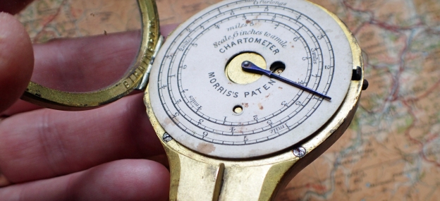 Changing the measuring scale in Morris's Patent Chartometer