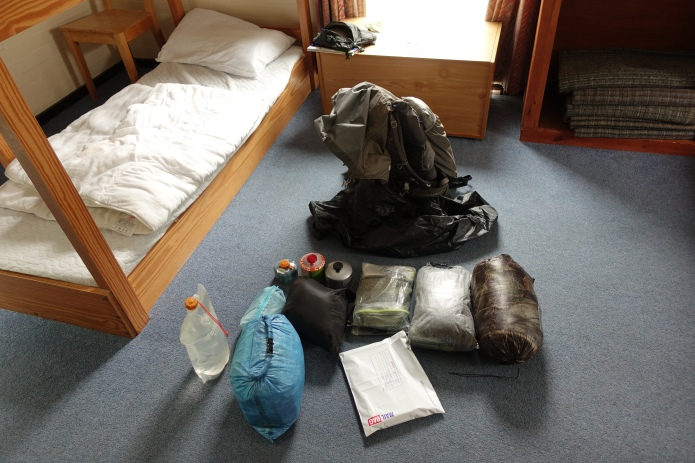 Three Points of the Compass likes to compartmentalise his gear. This ensures nothng is left behind and anything can be found quickly when required. A ditty bag forms part of that organisation. Roll call prior to vacating a hostel on the Pennine Way, 2018