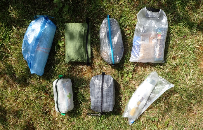 Bags and pouches of small stuff carried on longer hikes