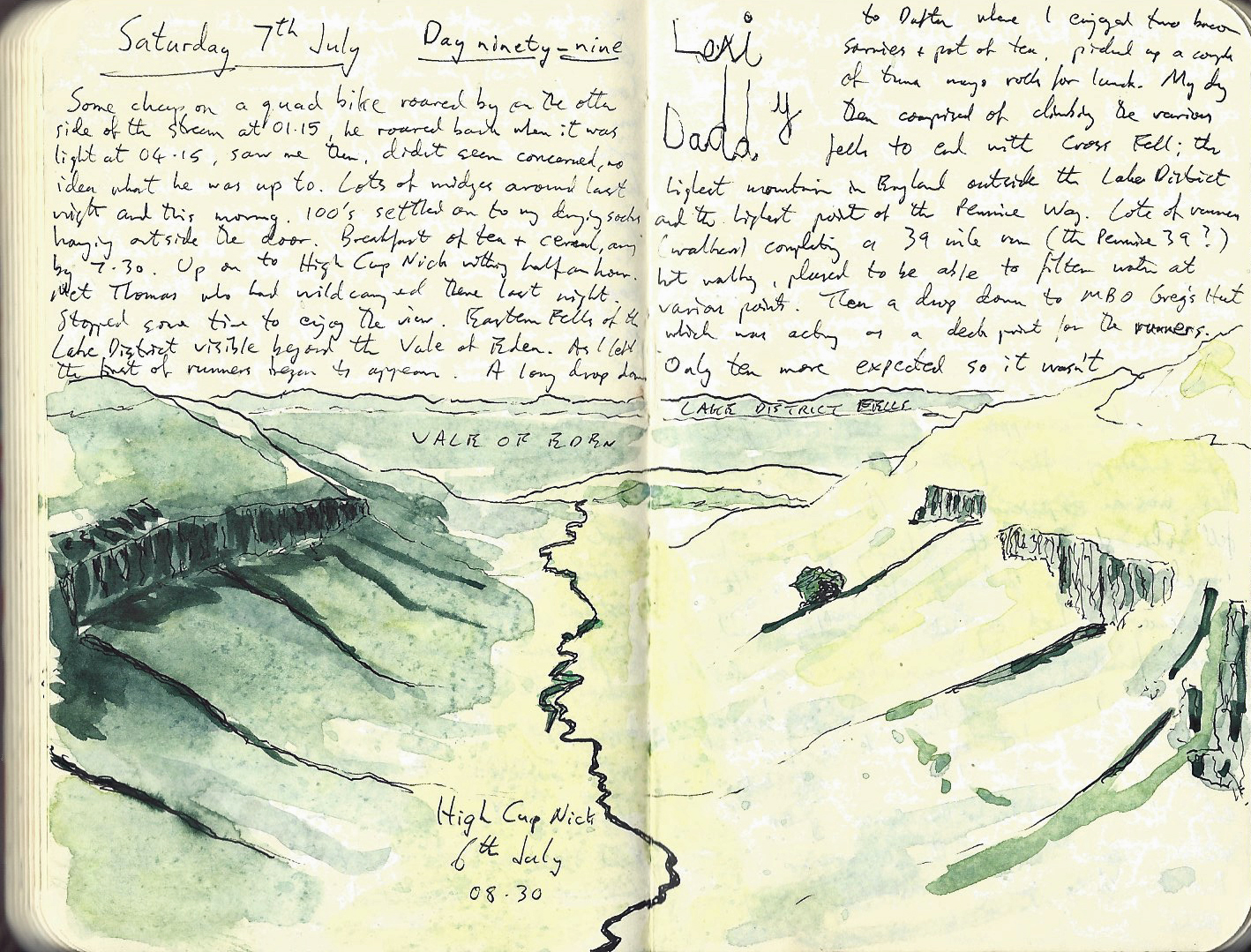 A notebook forms an important part of the contents of my ditty bag. A scrappy sketch of High Cup Nick on the Pennine Way in 2018 takes me back to the moment I made it, above, the carefully scrawled name of the little girl who spent that night in Gregs Hut with her father and me, reminds of Lexi's overwhelming excitement at toasting marshmallows that night