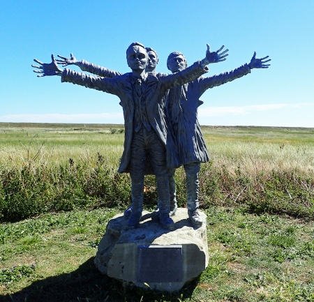 The Short Brothers look to the sky. Statue at Muswell Manor, near Leysdown-on-Sea