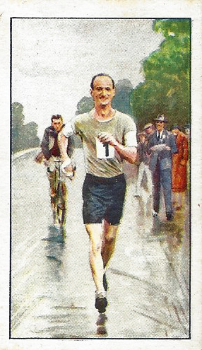 Thomas William Green, Racewalker was one of the leading British race-walkers, a sport that evolved out of pedestrianism. He won the 50km event during the 1932 Olympics. He won the London-Brighton walking event three times and In a Nottingham to Birmingham walk in 1933, set a new record of 50 miles in 7 hours 48 minutes 42 seconds. Gallagher Park Drive cigarette card: No. 10 of 48, 'Champions' series,1934