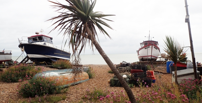 Fishing boats hauled up on to the shingle near Deal