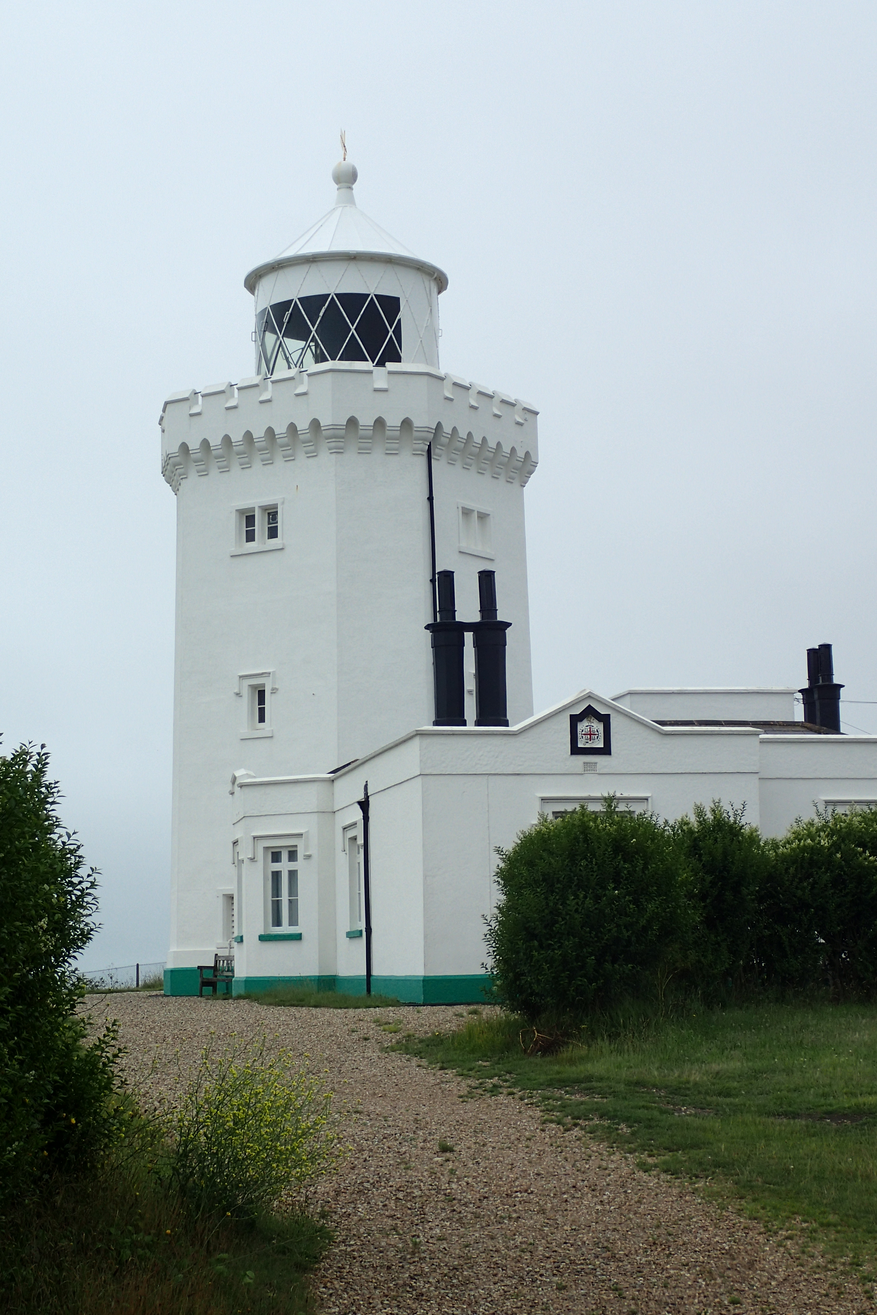 South Foreland Lighthouse. Built in 1843. Under Faraday's supervision, in 1858 it became the first lighthouse in the world to utilise an electric light. In 1898 it was chosen by Marconi for his experiments with wireless radio transmissions. The first ship to shore transmission was made that year followed by the first international message in 1899
