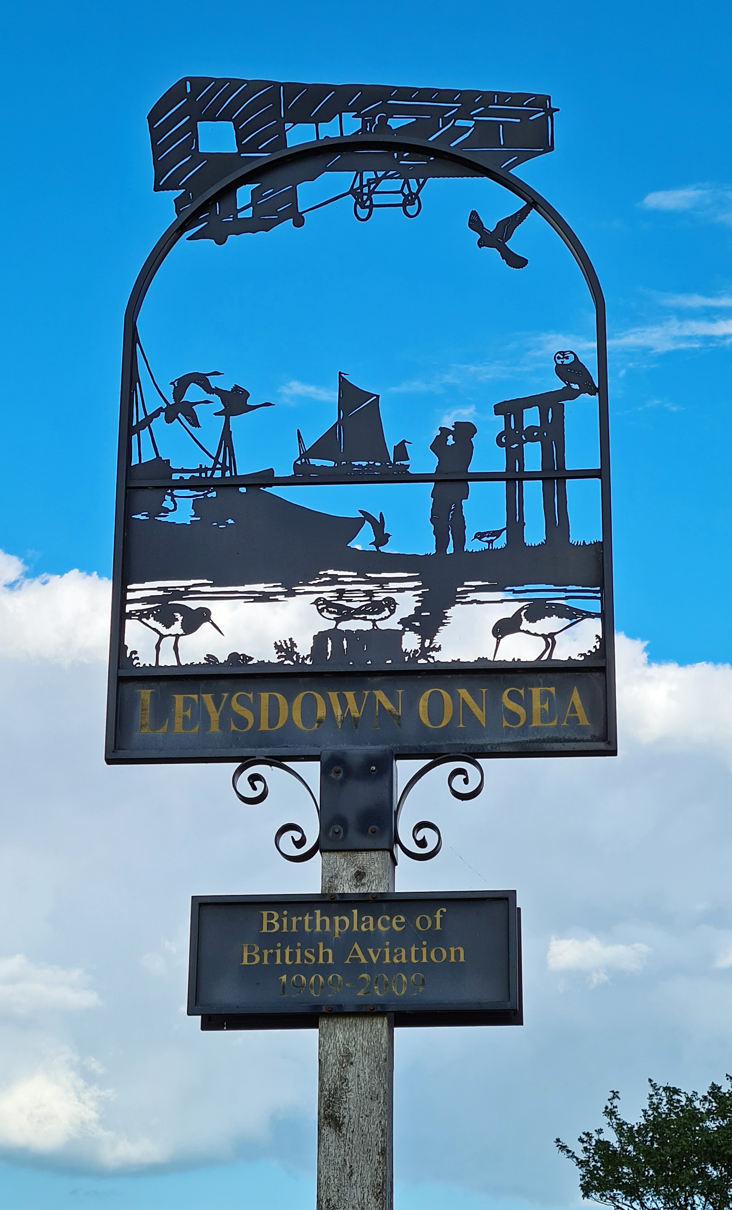 Village sign- Leysdown-on-Sea, the birthplace of British Aviation