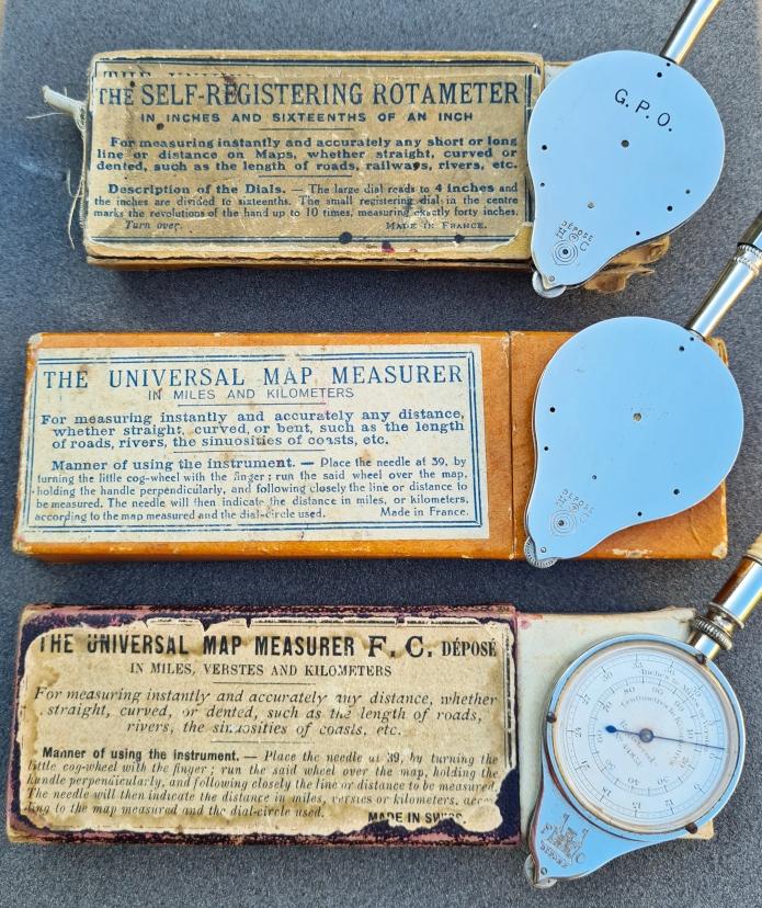 Self Registering Rotameter and Universal Map Measurer by Henri Chatelain, the bone handled example is a Universal Map Measurer from Fritze Chatelain