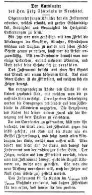 Der Curvimeter'- the map measure is mentioned in a Swiss military newspaper in 1878