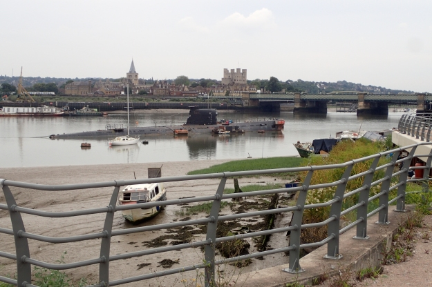 Russian Submarine moored at Strood. Rochester Cathedral and Castle beyond
