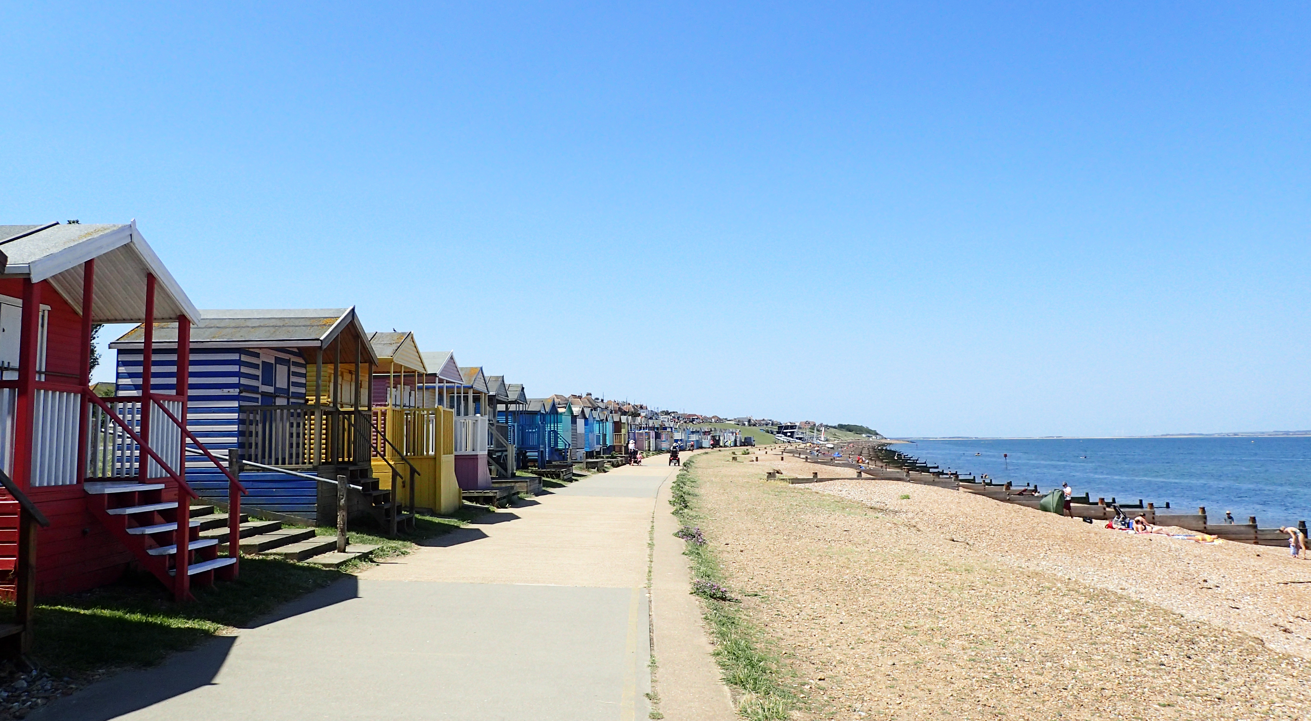 Approaching Herne Bay the Saxon Shore Way begins to pass brightly painted beach huts, now selling for tens of thousands of pounds each