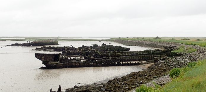 Rotting and abandoned wooden remains poke from the mud at Bedlams Bottom, off Chetney Marshes. Three Points of the Compass counted at least 22 ships here