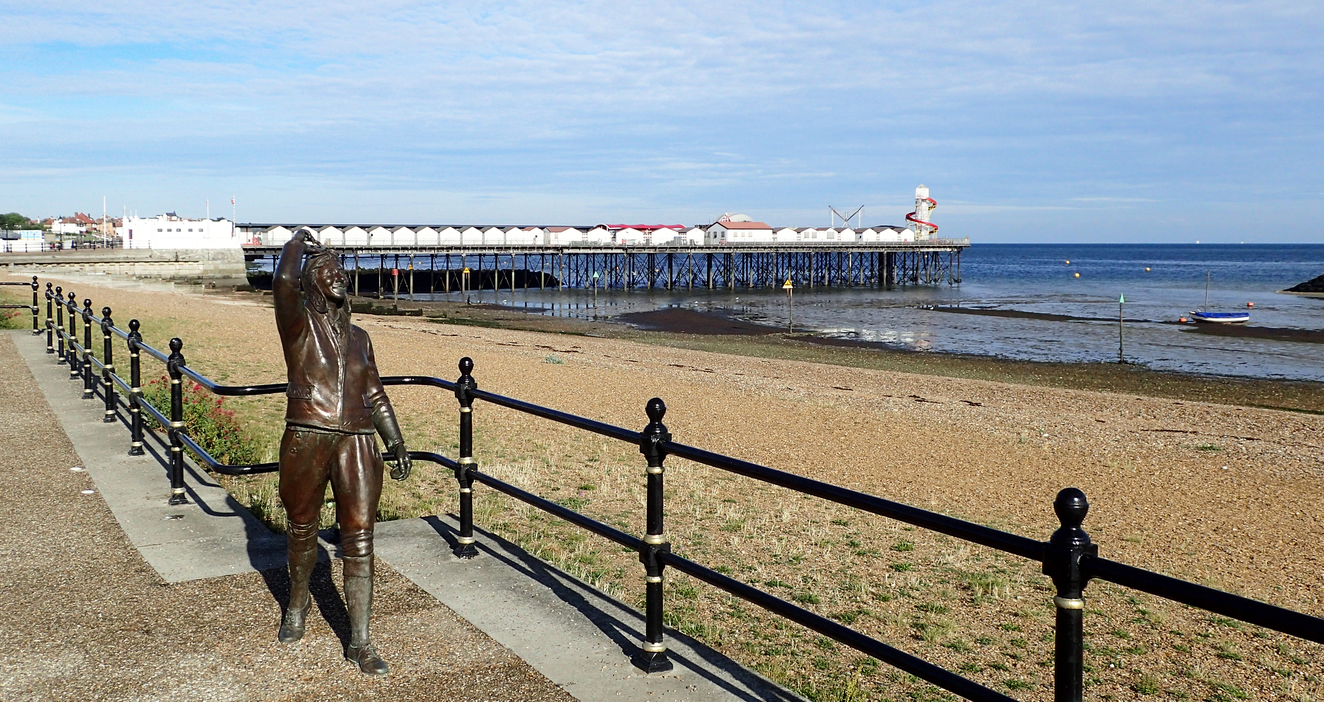 Bronze statue of Amy Johnson gazes out to the estuary where she disappeared on 5th January 1941 when ferrying an aeroplane as part of the Air Transport Auxiliary