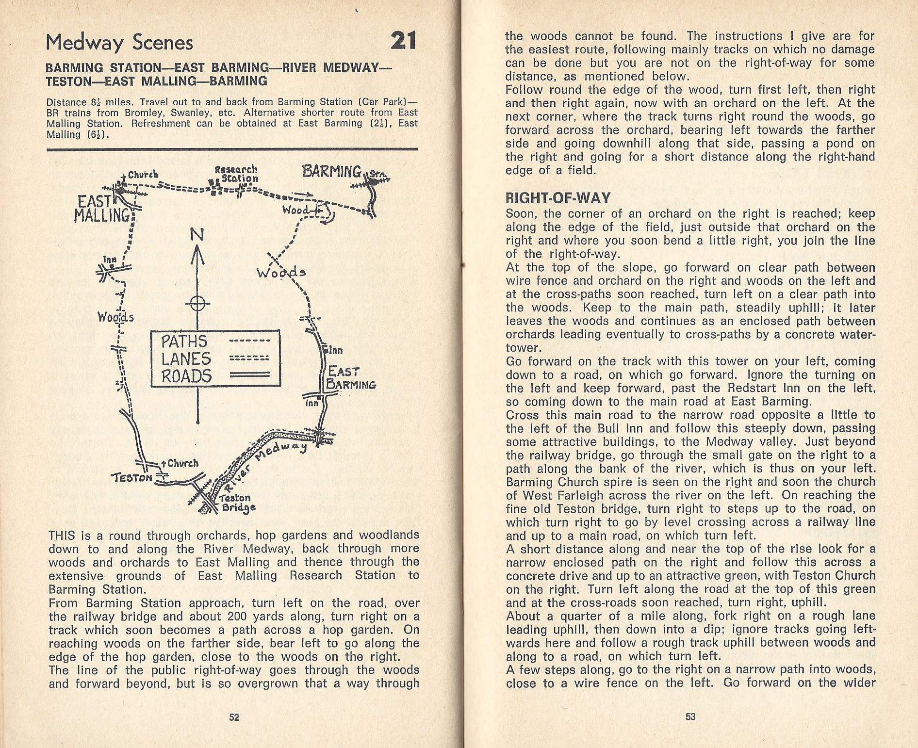 Part of walk 21 in Rambling through Kent, V.W. Morecroft, c1975