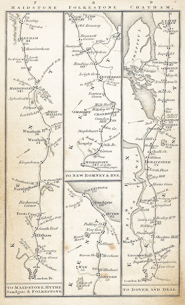 The roads of Kent, pages 7, 8 and 9, from Smith's New Pocket Companion to the Roads of England & Wales and Part of Scotland, 1827