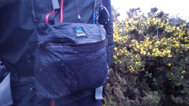Zipped Z Packs chest pouch in use on a wet day on the 630 mile South West Coast Path