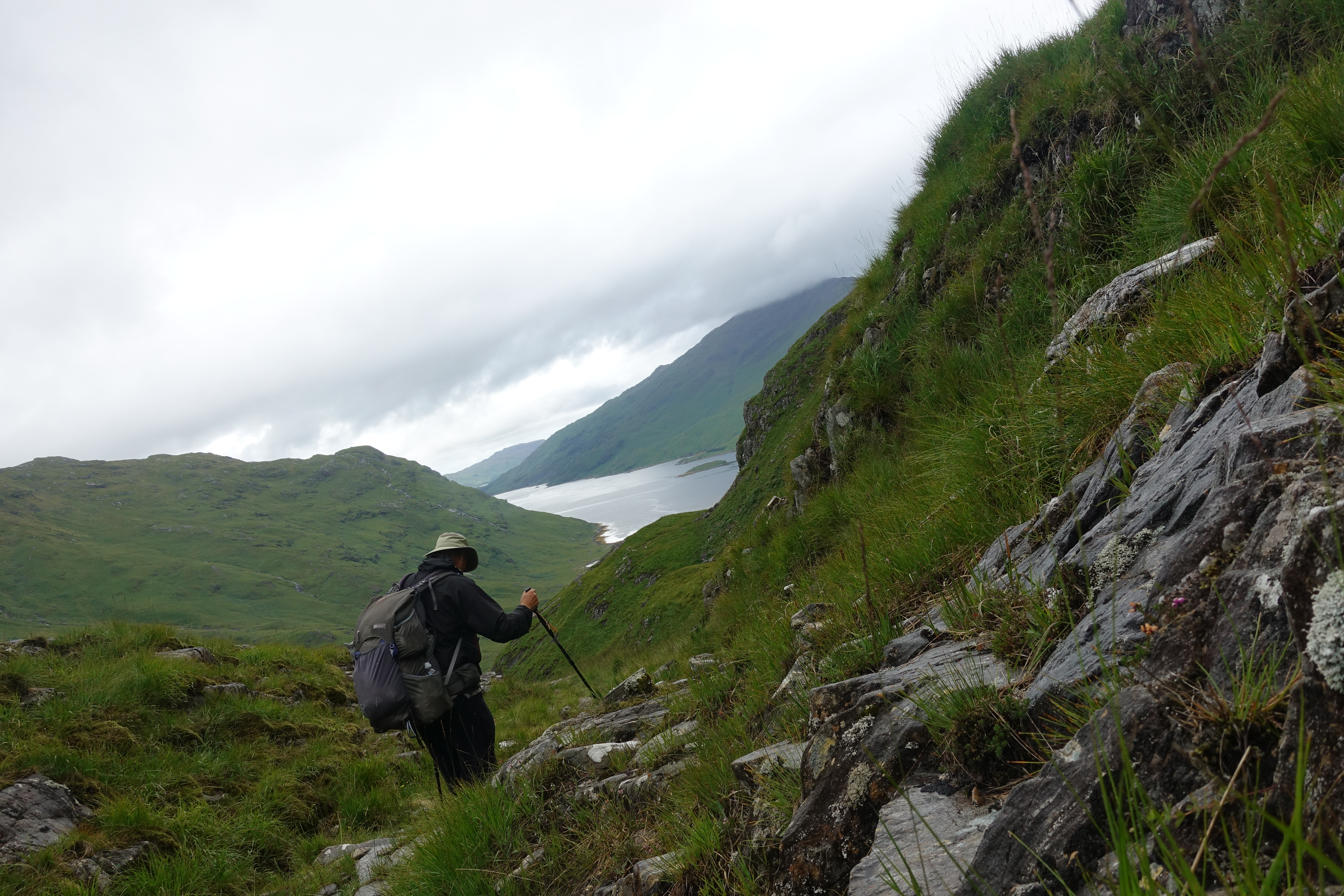 Sitting on a protruding rock, my camera is wonky but this shot takes me back to a foul days hiking in Scotland