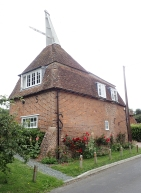 One of the older square shaped oast houses, now converted to a residential dwelling. The corners of these oasts developed cold spots and circular oasts replaced them