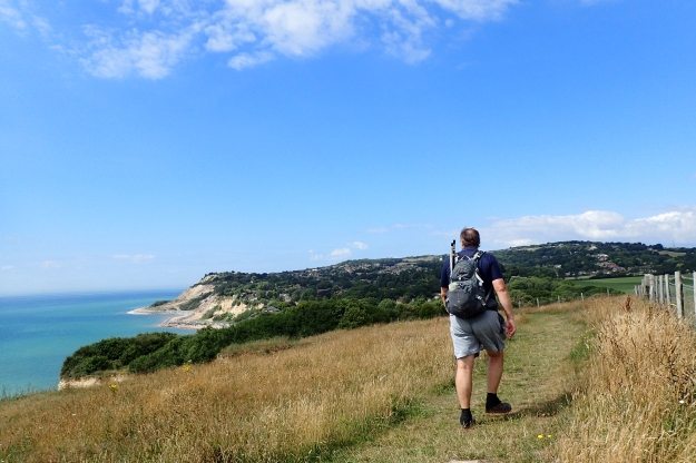 Approaching Ecclesbourne Glen with Hastings beyond