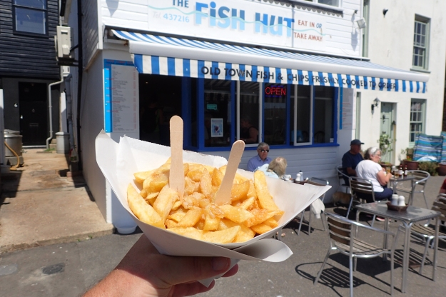 Part reward for completing the Saxon Shore Way- socially distanced fish and chips at Hastings