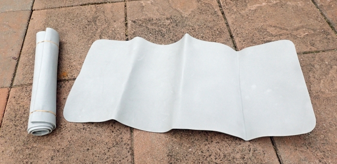 Having purchased a length of 3mm Evazote foam, Three Points of the Compass has cut this down to a small length for use unfer the inflatable sleeping pad at night, or folded in half or thirds to use as a sit pad during the day