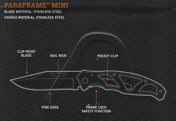 Packaging for Gerber Paraframe Mini details the minimal functions found on the tool