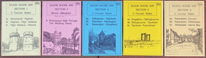 Few guides to the long distance Saxon Shore Way were ever published. Locally published, these five thin and cheaply produced guides were a labour of love of enthusiastic local promoters of the route
