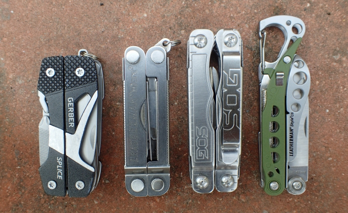 Size of four small 'keychain' multi-tools based around scissor jaws compared. From left- Gerber Splice, Leatherman Micra, SOG Snippet, Leatherman Style CS