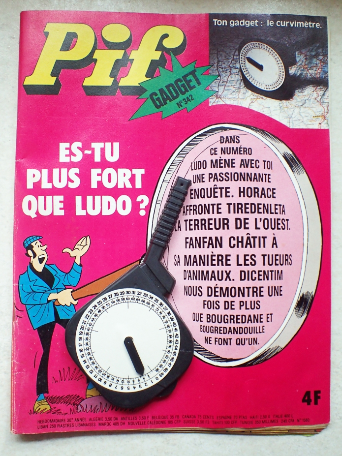 Pif Gadget, with free gift of Le Curvimètre