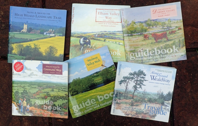 Six of the beautifully produced but impractical County Council guides for walks either in or including Kent
