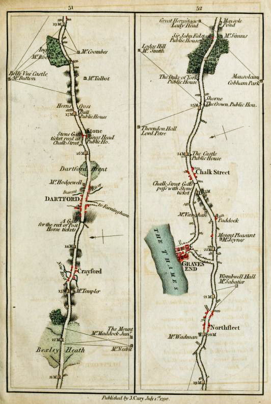 Maps 51 and 52 from John Carys- Survey of the High Roads from London, 1790
