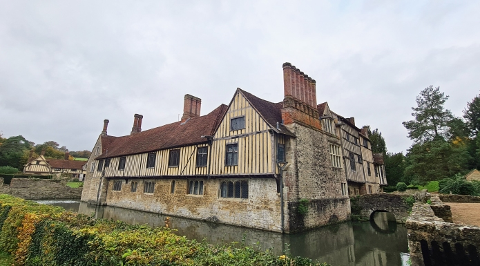 13th century medieval Ightham Mote is passed twice on route 11 in Kent Walks Pathfinder Guide