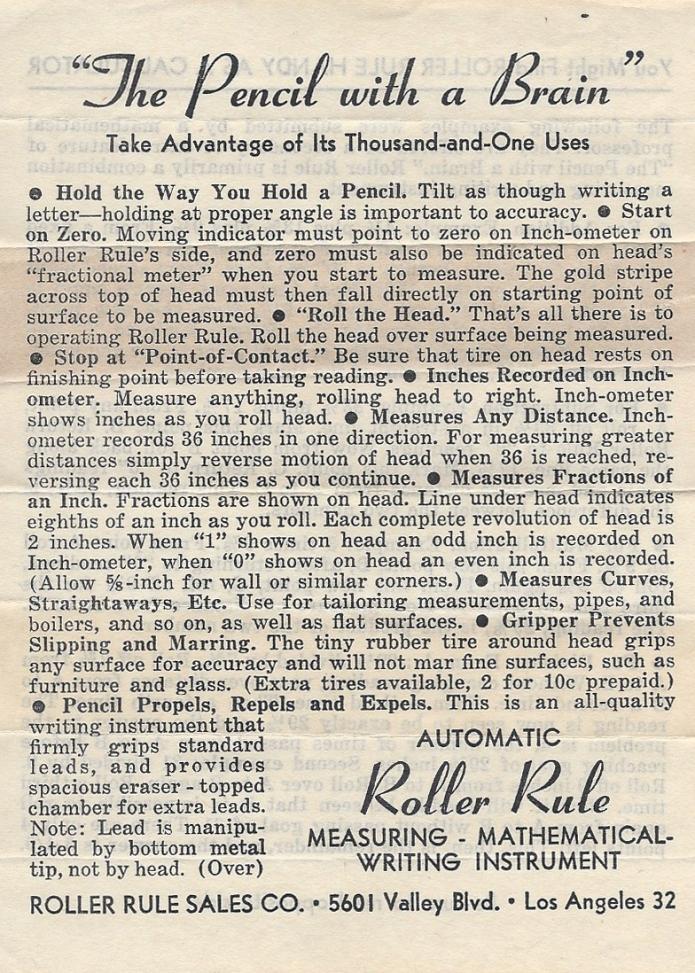 Roller Rule instructions, side 1