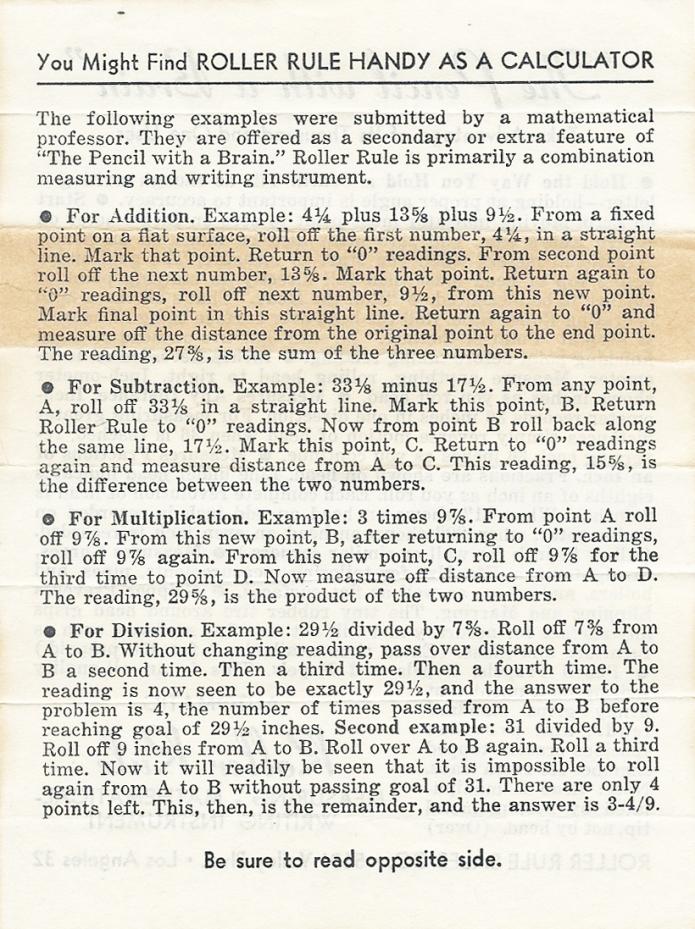 Roller Rule instructions, side 2