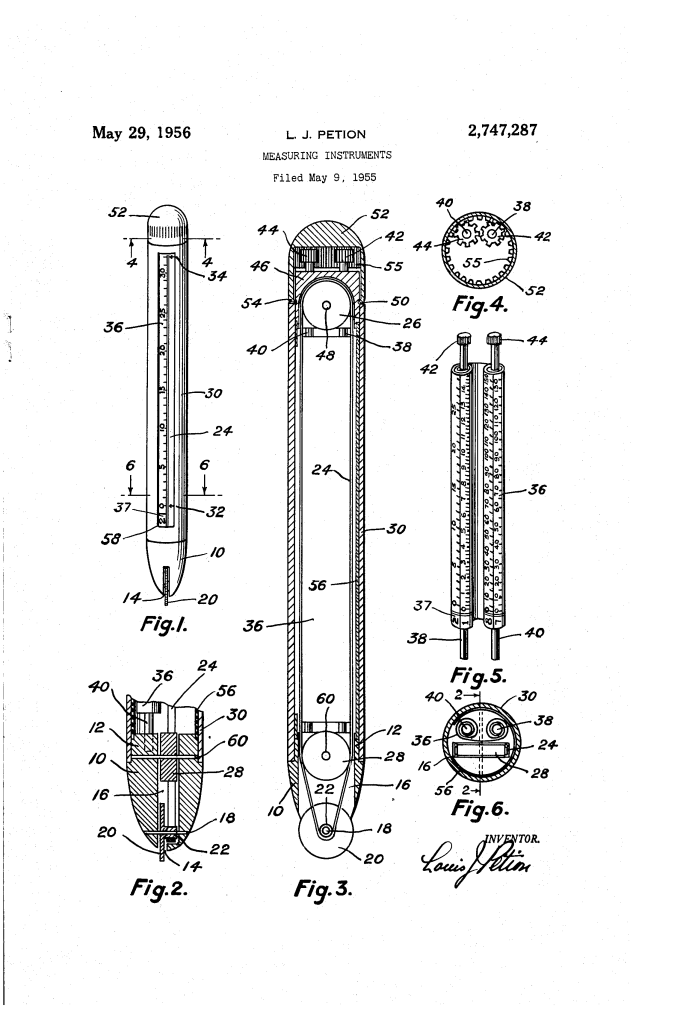 Patent- US2747287-drawings of measuring device