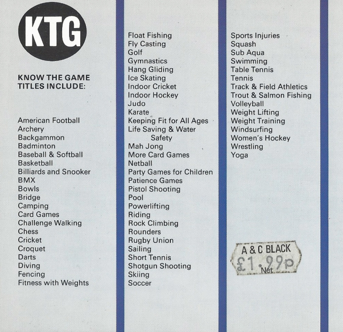 1991 listing of Know the Game series