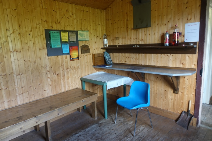 Carefully maintained interior of the Schoolhouse bothy