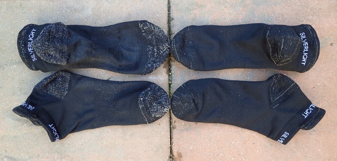 Silverlight Ankle socks two-hundred miles in on left, brand new on right