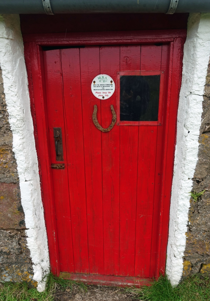 Front door of strathchailleach bothy