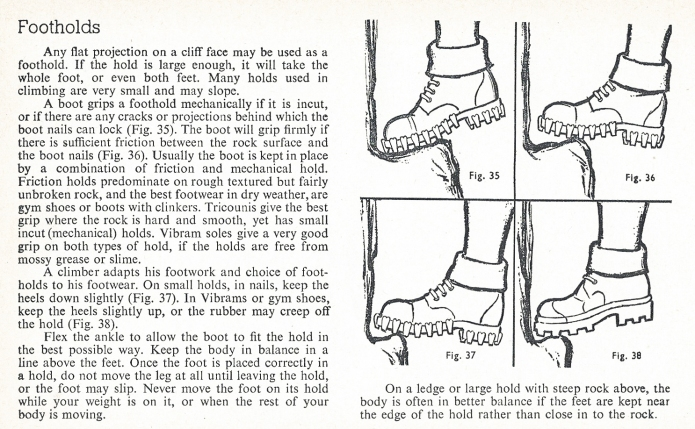 'Footholds' page from 1958 edition of Know the Game-Rock climbing