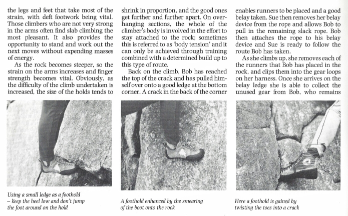 'Footholds' page from 1991 edition of Know the Game-Rock climbing