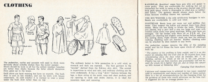 Suggest clothing from Know the Game- Camping, 1956