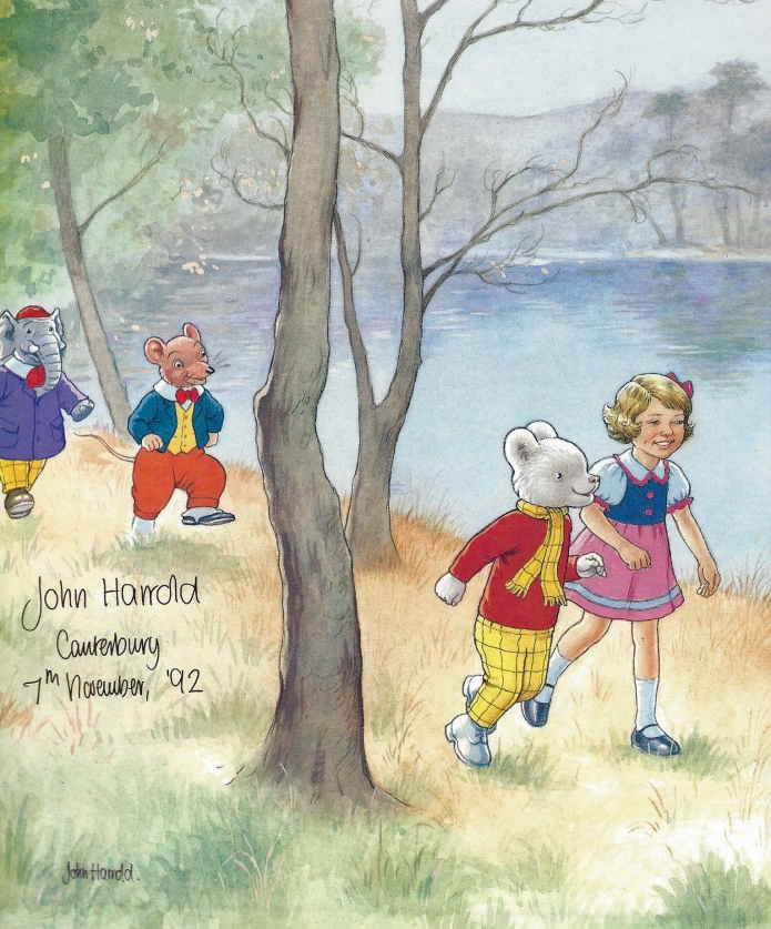 Most of Ruperts adventures took place outdoors while he walked, ran, sailed and flew around the countryside surrounding his hometown of Nutwood. Here he walking the riverbank with his friends Edward Trunk, Willie and Rosie. Signed by the illustrator on Ruperts 72nd birthday. End paper from 1992 (72nd anniversary) album