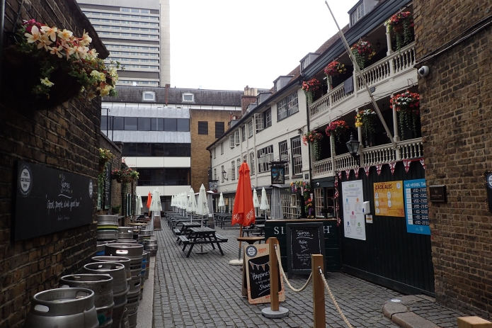 Courtyard to The George. This is one of the few surviving galleried coaching inns in London