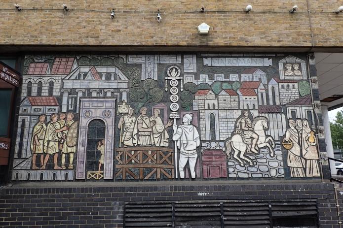 Adam Kossowski ceramic mosaic mural at former North Peckham Civic Centre