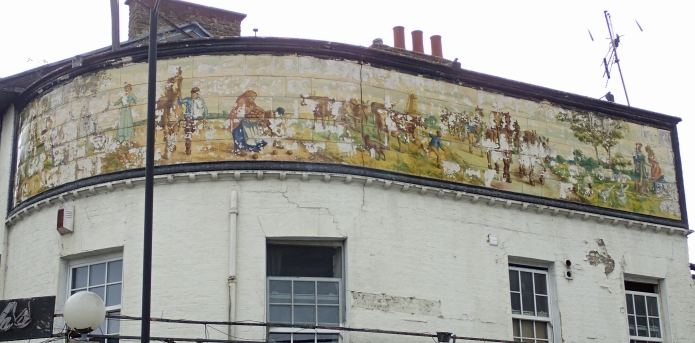 England's longest pub sign- showing a rural scene on the Old Kent Road