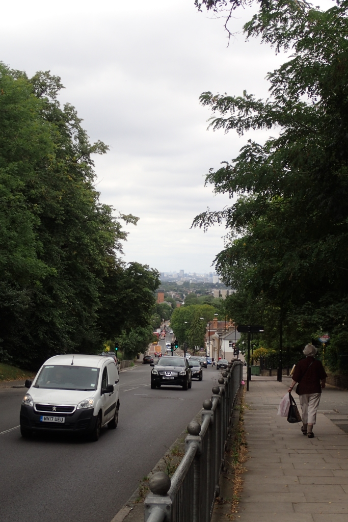 Climbing Shooters Hill , a glance backward reveals my departure point at the base of the distant Shard